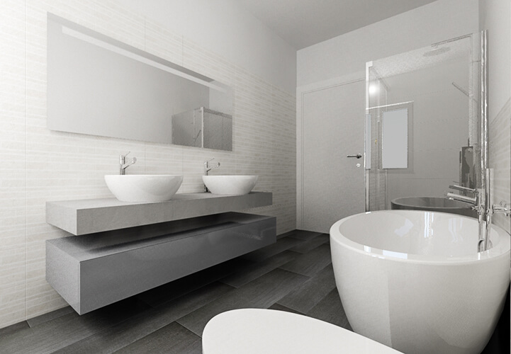 Arredo bagno effetto legno design casa creativa e mobili for Piastrelle bagno pietra