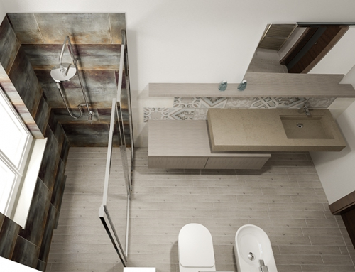 Accostamenti di trame e materiali per un bagno unico