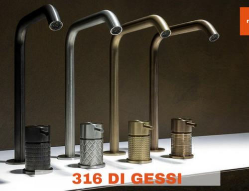 316 di Gessi: l'acciaio rivestito dalle texture